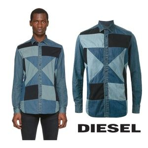 DIESEL Mens Blue Patchwork Denim Button Up Shirt
